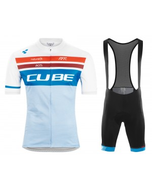2020 Team Cube Pro Cycling White Cycling Jersey And Bib Shorts Set