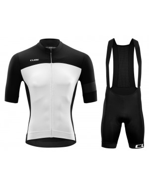 2020 Cube Black-White Cycling Jersey And Bib Shorts Set