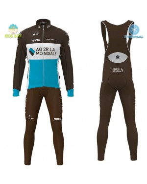 2020 Team AG2R Kids Thermal Cycling Jersey And Bib Pants Set