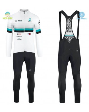 2020 Assos FF1 RS Benz White Kids Thermal Cycling Jersey And Bib Pants Set