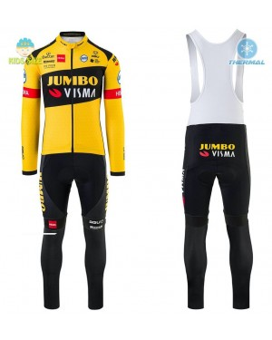 2020 Team JUMBO-VISMA Yellow Kids Thermal Cycling Jersey And Bib Pants Set