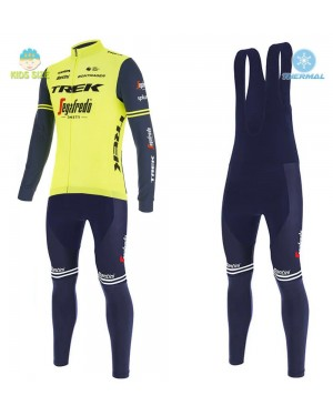 2020 Trek Segafredo Factory Racing Yellow Kids Thermal Cycling Jersey And Bib Pants Set