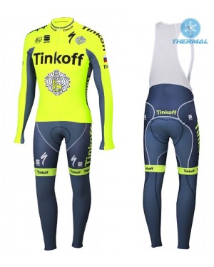 2016 Tinkoff Race Team - Thermal Long Sleeve Cycling Jersey And BIB Pants Kit