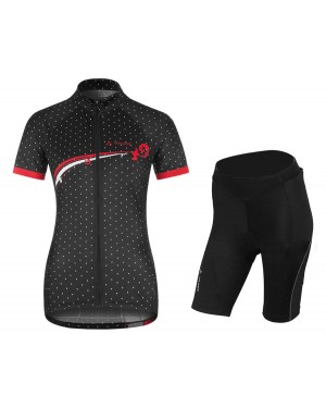 2017 Vaude Flower With Dot Black-White Short Sleeve Cycling Jersey And Shorts Set