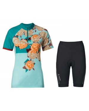 2017 Vaude Tomaly Flower Blue Short Sleeve Cycling Jersey And Shorts Set