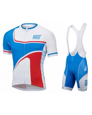 2016 Rose Retro Blue-White - Short Sleeve Cycling Jersey And Bib Shorts