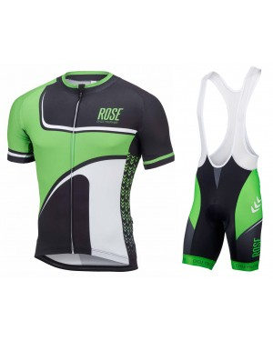 2016 Rose Retro Black-Green - Short Sleeve Cycling Jersey And Bib Shorts