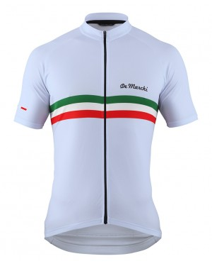 2016 De Marchi PT Italy Flag White - Short Sleeve Cycling Jersey