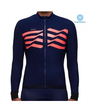 2019 MAAP M-Flag Ultra Blue-Red Thermal Long Sleeve Cycling Jersey
