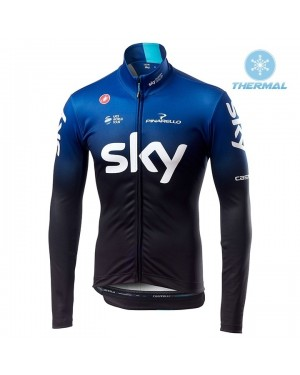 2019 SKY Team Black-Blue Thermal Long Sleeve Cycling Jersey