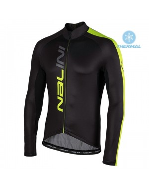 2020 Nalini LW Black-Yellow Thermal Long Sleeve Cycling Jersey