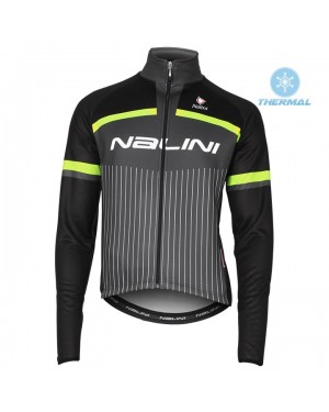 2020 Nalini Thebe Black-Yellow Thermal Long Sleeve Cycling Jersey