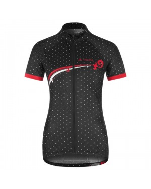 2017 Vaude Flower With Dot Black-White Short Sleeve Cycling Jersey