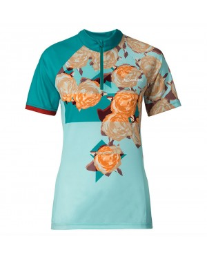 2017 Vaude Tomaly Flower Blue Short Sleeve Cycling Jersey