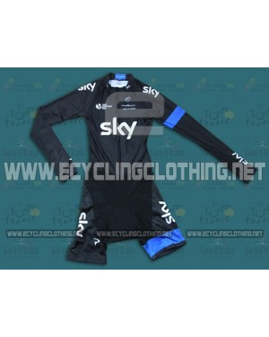 2014 Team Sky - Long Sleeve Cycling Skinsuit Time Trail Skin Suits