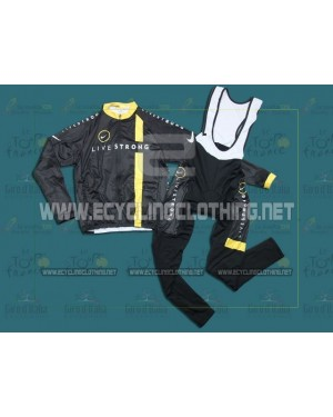 2011Black LiveStrong - Thermal Long Sleeve Cycling Jersey And BIB Pants Kits