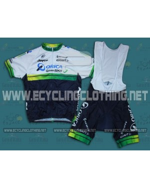2014 Orica - Green EDGE - Short Sleeve Cycling Jersey And Bib Shorts