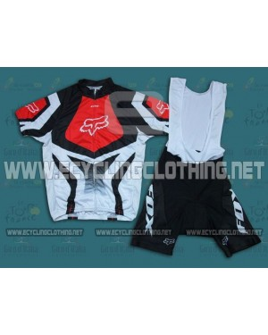 2014 White And Red Fox Team - Short Sleeve Cycling Jersey And Bib Shorts