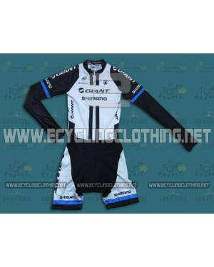 2014 Team Giant Shimano White - Long Sleeve Cycling Skinsuit Time Trail Skin Suits