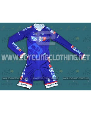 2014 Francaise des Jeux Blue - Long Sleeve Cycling Skinsuit Time Trail Skin Suits