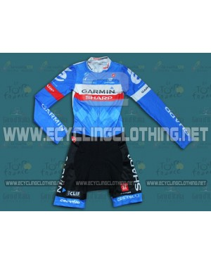 2014 Team Garmin - Long Sleeve Cycling Skinsuit Time Trail Skin Suits