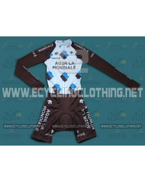 2014 Ag2r La Mondiale - Long Sleeve Cycling Skinsuit Time Trail Skin Suits