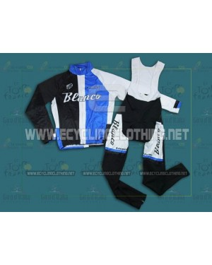 2013 Blue And White Giant Blanco - Thermal Long Sleeve Cycling Jersey And BIB Pants Kits